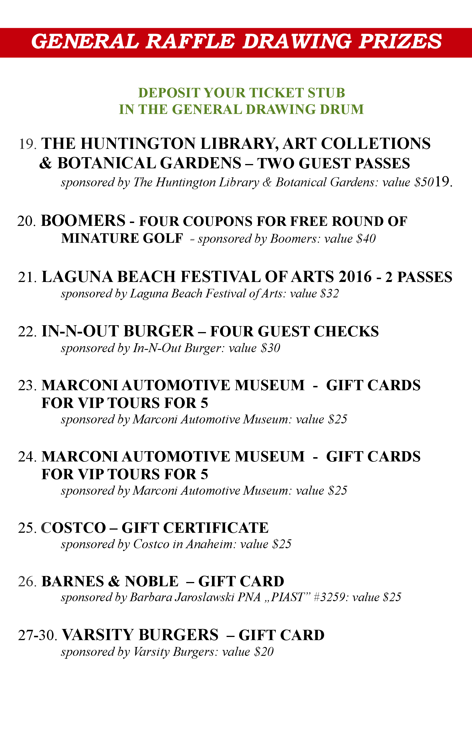 Prizes - Lottery 2016-3